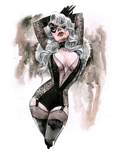 Burlesque Carlations Carla Wyzgala Watercolor Pin-up black cat