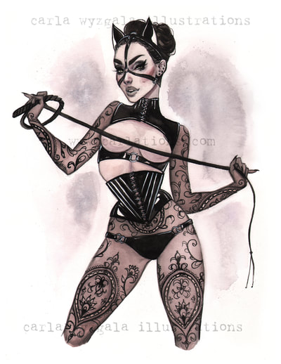 Burlesque Show Catwoman Gotham batman pin-up watercolor sirens dc bombshells