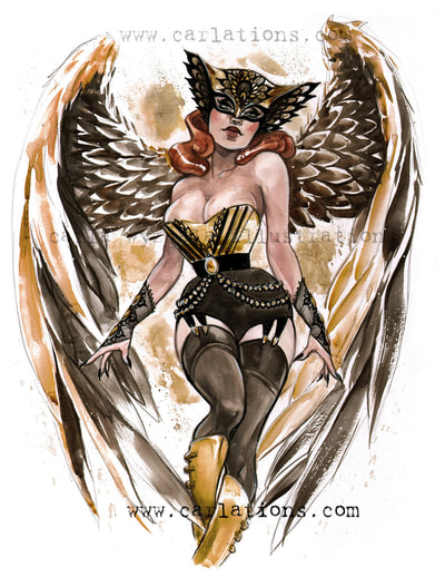 Burlesque Carlations Carla Wyzgala Watercolor Pin-up Hawkgirl DC bombshells justice league