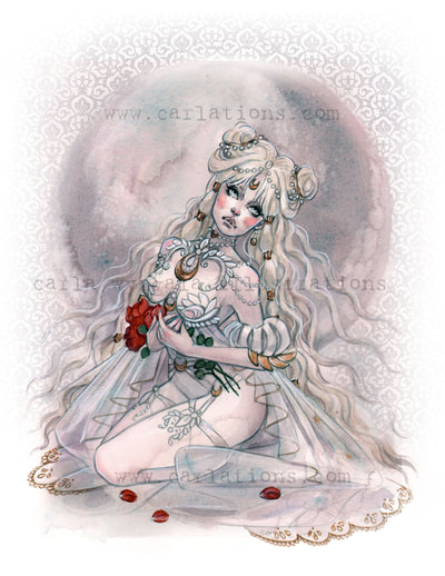 Burlesque Carlations Carla Wyzgala Watercolor Pin-up sailor moon princess serenity usagi
