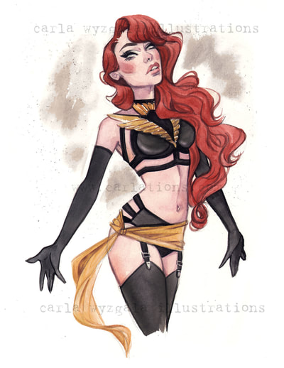 Burlesque Carlations Carla Wyzgala Watercolor Pin-up xmen marvel phoenix