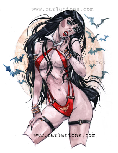 Burlesque Carlations Carla Wyzgala Watercolor Pin-up vampirella