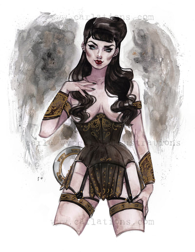Burlesque Carlations Carla Wyzgala Watercolor Pin-up xena warrior princess